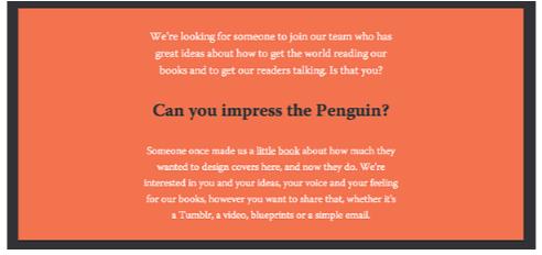 Le pingouin ne peut pas être impressionné