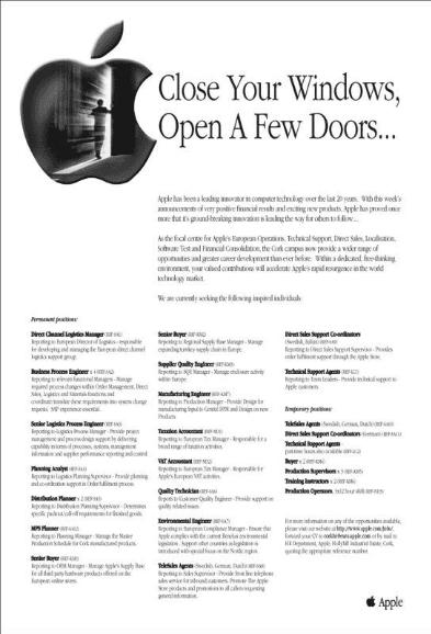 Close your windows, open a few doors... - campagne de recrutement Apple