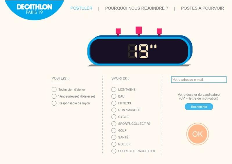 Recrutement 19 secondes par Decathlon